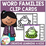 Word Family Clip Cards (250 Cards) 25 Word Families ~Digital Download~