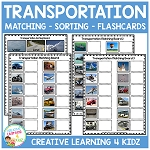 Transportation Matching Sorting Boards + Flashcards ~Digital Download~