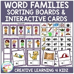 Word Families Sorting & Interactive Cards  ~Digital Download~