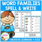 Word Family Spell & Write Worksheets 25 Word Families ~Digital Download~