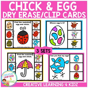 Chick and Egg Dry Erase or Clip Cards ~Digital Download~