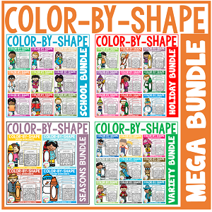 Color By Shape Worksheets: MEGA Bundle ~Digital Download~