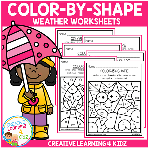 Color By Shape Worksheets: Weather ~Digital Download~