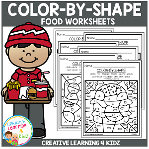 Color By Shape Worksheets: Food ~Digital Download~