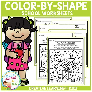 Color By Shape Worksheets: School ~Digital Download~