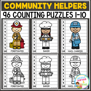 Community Helpers Counting Puzzles Numbers 1-10 ~Digital Download~
