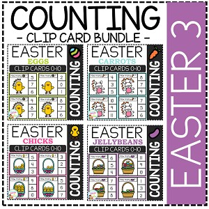 Counting Picture Clip Cards 0-10: Easter 3 Bundle ~Digital Download~