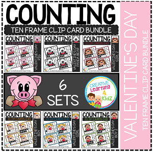 Counting Ten Frame Clip Cards 0-10: Valentine's Day ~Digital Download~