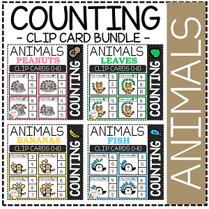 Counting Picture Clip Cards 0-10: Animal Bundle ~Digital Download~