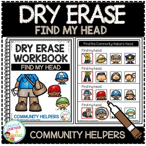 Dry Erase Community Helper Workbook: Find My Head ~Digital Download~