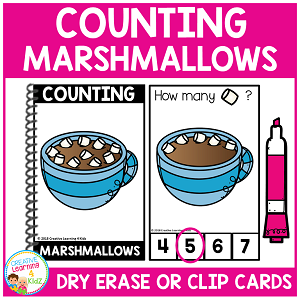 Dry Erase Counting Book/Cards or Clip Cards: Marshmallows - Winter ~Digital Download~