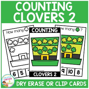 Dry Erase Counting Book/Cards or Clip Cards: St. Patrick's Day Clovers 2 ~Digital Download~