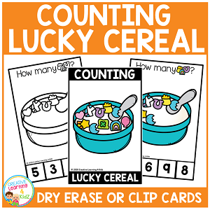 Dry Erase Counting Book/Cards or Clip Cards: St. Patrick's Day Lucky Cereal ~Digital Download~