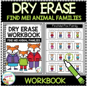 Dry Erase Workbook: Find Me! Animal Families ~Digital Download~