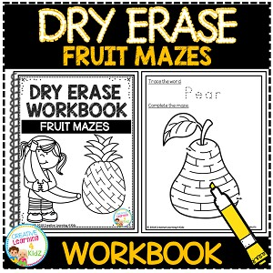 Dry Erase Workbook: Fruit Mazes ~Digital Download~