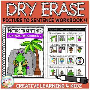 Dry Erase Picture to Sentence Workbook 4 ~Digital Download~