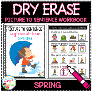 Dry Erase Picture to Sentence Workbook: Spring ~Digital Download~