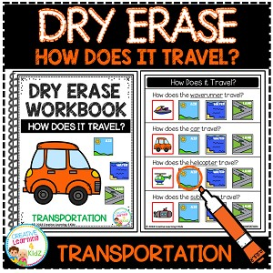 Dry Erase Transportation Workbook: How Does it Travel? ~Digital Download~