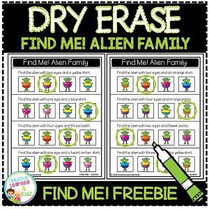 Dry Erase Workbook: Find Me! Alien Family Freebie ~Digital Download~