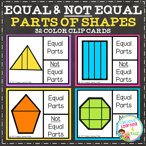 Equal and Not Equal Parts of Shapes Clip Cards ~Digital Download~