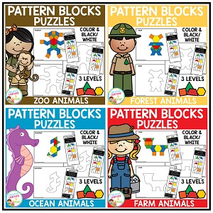 Pattern Block Puzzles: Animals Bundle ~Digital Download~