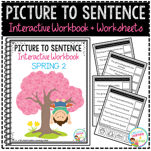 Picture to Sentence Interactive Workbook + Worksheets: Spring ~Digital Download~