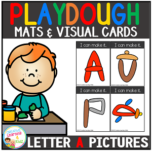 Playdough Mats & Visual Cards: Alphabet A Picture Set Freebie ~Digital Download~