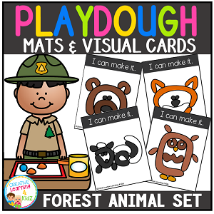 Playdough Mats & Visual Cards: Forest Animals ~Digital Download~