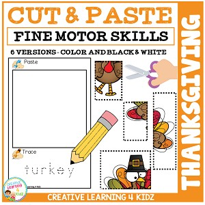 Cut and Paste Fine Motor Skills Puzzle Worksheets: Thanksgiving ~Digital Download~