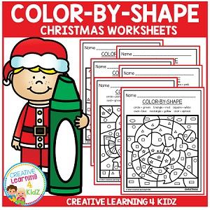 Color By Shape Worksheets: Christmas ~Digital Download~