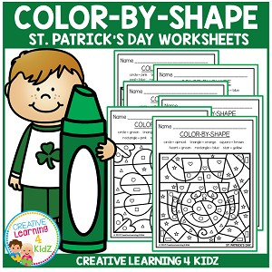 Color By Shapes Worksheets: St. Patrick's Day ~Digital Download~
