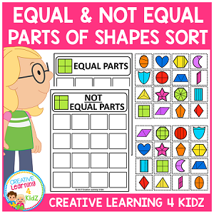 Equal and Not Equal Parts of Shapes Sorting ~Digital Download~