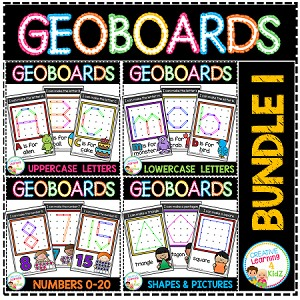 Geoboard Templates: Bundle 1 Alphabet - Numbers - Shapes - Simple Pictures ~Digital Download~