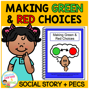 Social Story Making Green & Red Choices Book + Cards  ~Digital Download~
