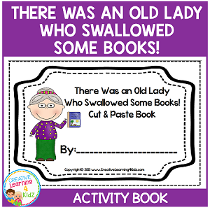 There Was an Old Lady Who Swallowed Some Books! Cut & Paste Activity Book ~Digital Download~