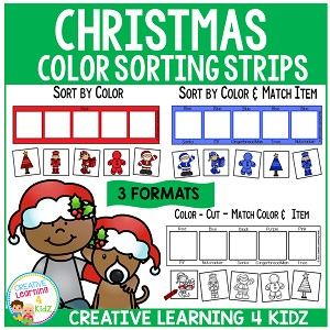 Christmas Color Sorting & Matching Strips ~Digital Download~