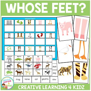 Animals Whose Feet? Matching Board + Flashcards  ~Digital Download~