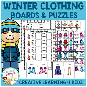 Winter Clothing Matching Boards & Puzzles ~Digital Download~