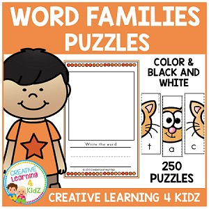 Word Family Puzzles (250 Puzzles) 25 Word Families ~Digital Download~